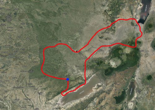 The route we flew starting and ending at Mwiba River Lodge