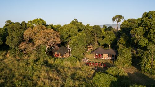 Angama Safari Camp tucked discreetly along the banks of the Mara River