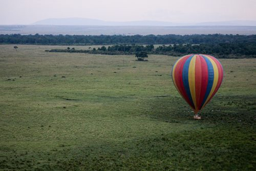 The iconic Maasai Mara hot air balloons from a different perspective