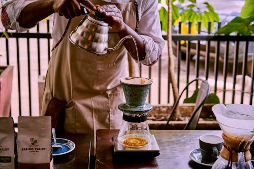The tasting experience includes the same beans across different brewing methods: here, the V60