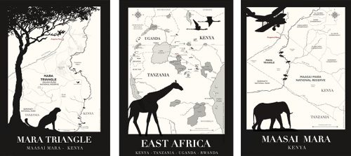 Three of the bespoke maps that have hung in Angama Mara's libraries since day one