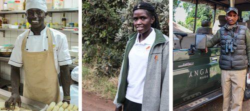 David Karanja (chef), Roseline Ndesi (housekeeper), and Nissa Kinyaga (guide)