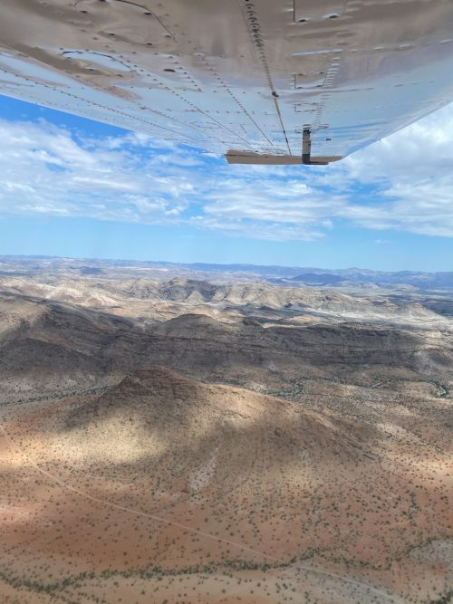 Flying over the Kaokoveld's mountains and dry river beds