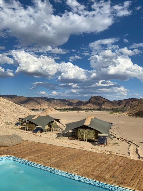 The view from Hoanib Valley Camp's swimming pool deck