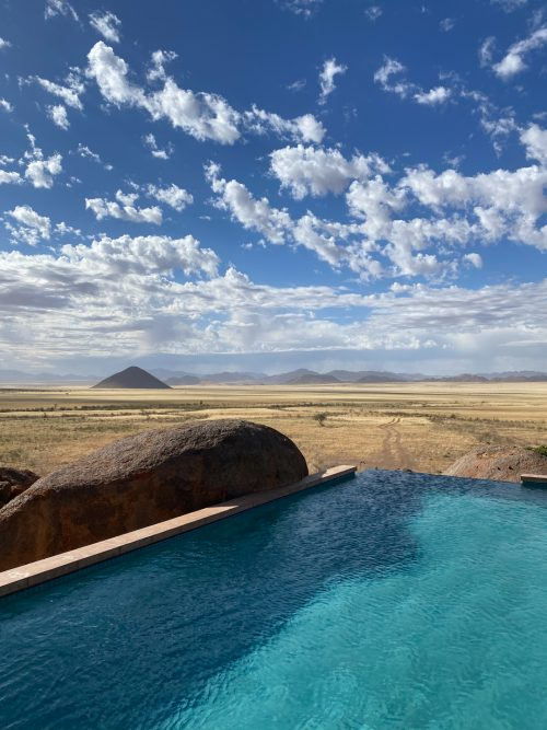 The swimming pool at Sonop, overlooking the endless golden fields