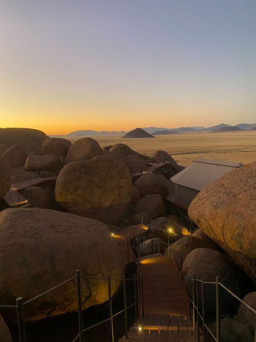 Descending from the Guest Area, Sonop's tents are tucked between the rocks