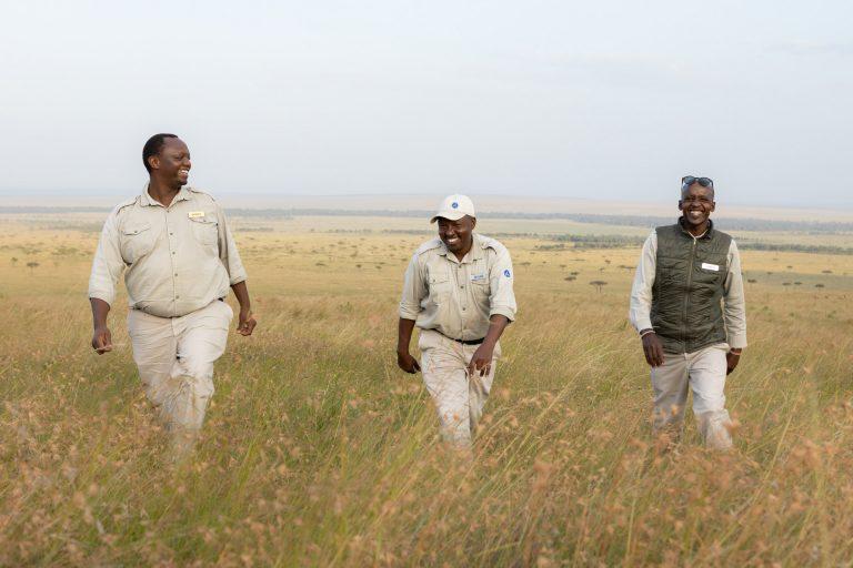 Angama Mara guides Sammy, Wilson and Lemalo in the Maasai Mara