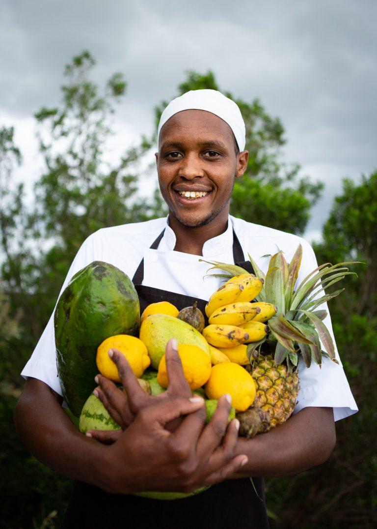 Chef Jackson with Shamba fruit Angama Mara