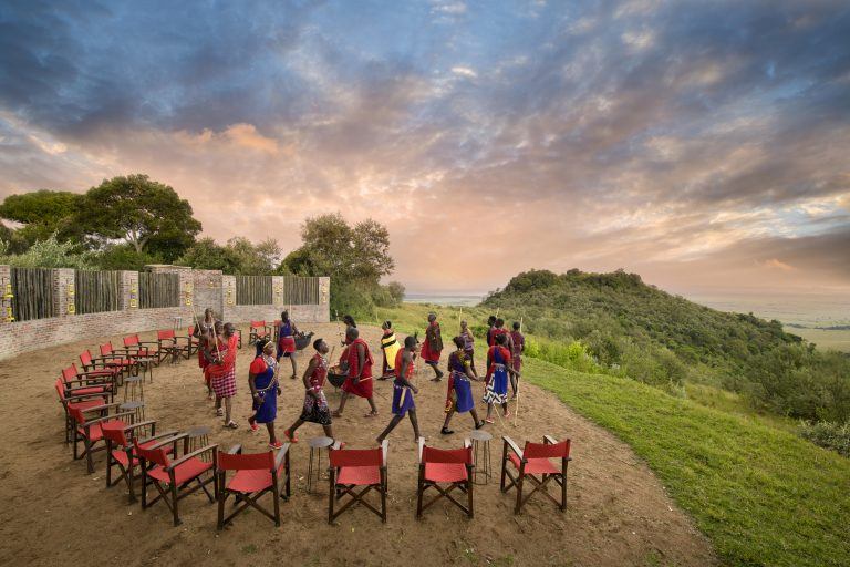 Celebrating at Angama Mara Sundowner Boma