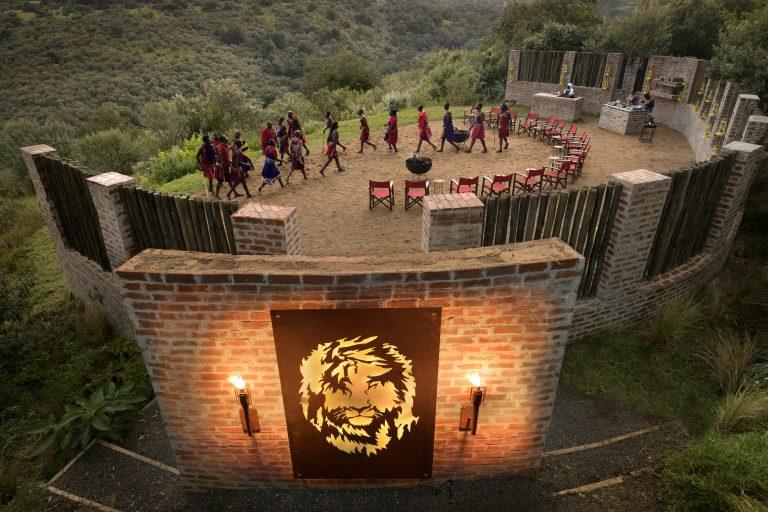 Scar metal installation at Angama Mara sunset boma