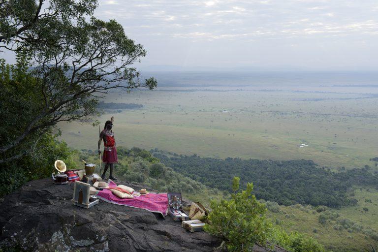 Out of Africa picnic with Maasai Warrior at Angama Mara