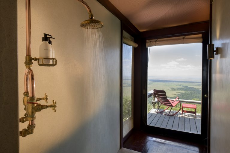Angama Mara Tented Suite shower with view