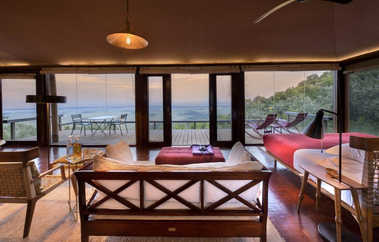 Angama Mara Tented Suite interior with view