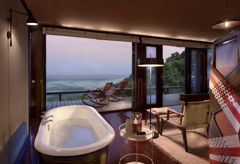 Angama Mara Tented bath with view