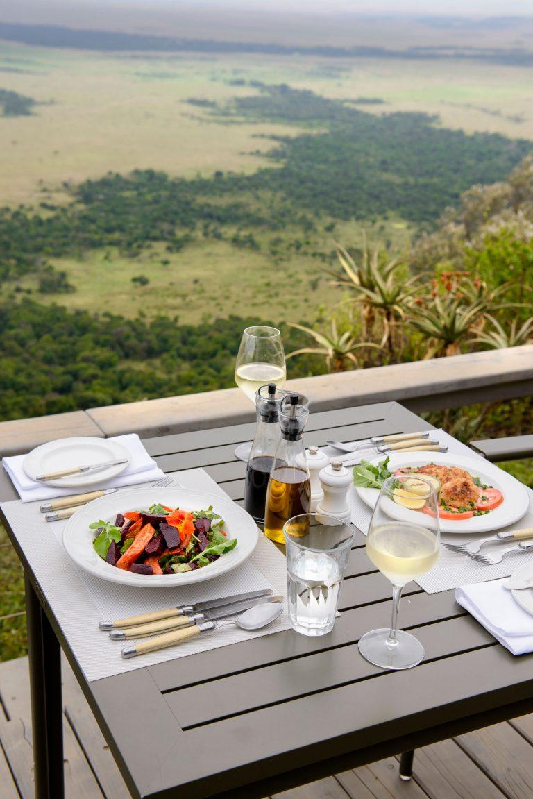 Dining at Angama Mara with views of Maasai Mara