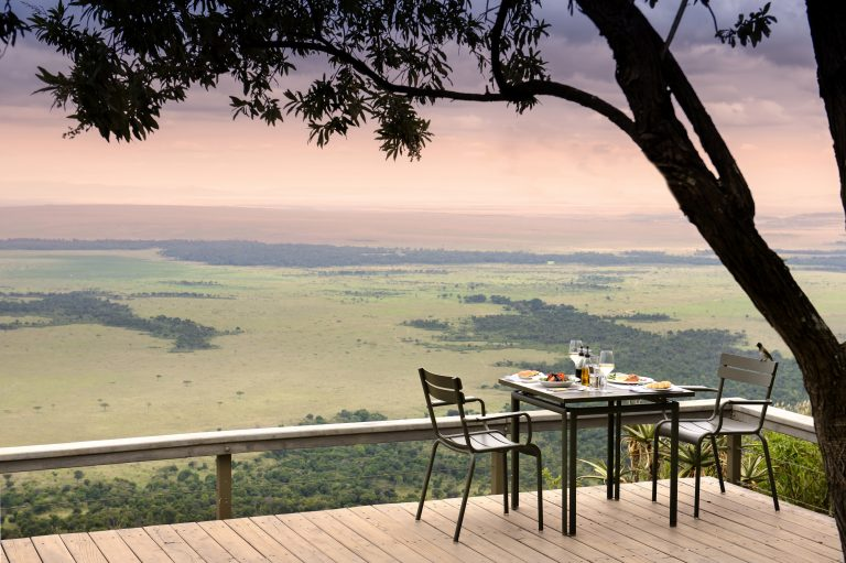 Dining with a view at Angama Mara