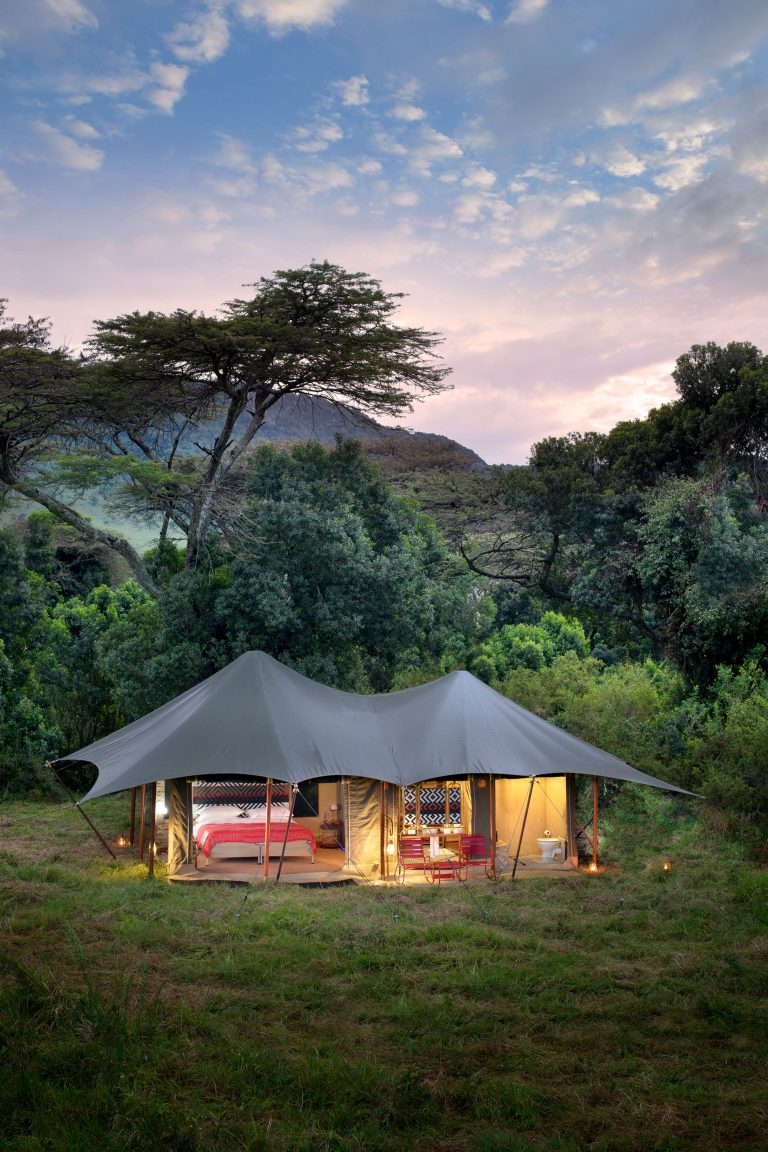 Angama Safari Camp tent lit up