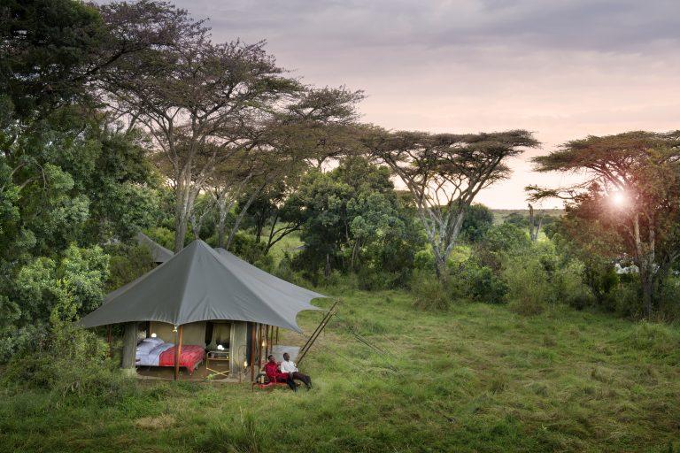 Angama Safari Camp tents at sunrise