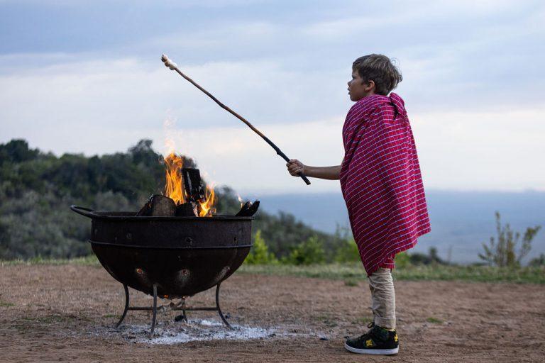 Toasting marshmallows Angama Mara sunset boma