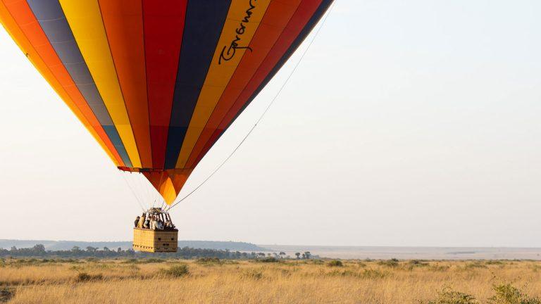 Governor's hot air balloon landing in the Maasai Mara Kenya