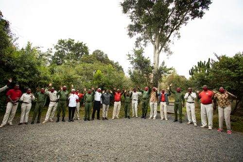 Above: The elated Angama Mara team welcome some of the first guests back to the lodge
