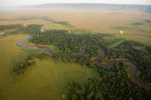In Kenya, the twists and turns of the Mara River as seen from a Governors' hot-air balloon